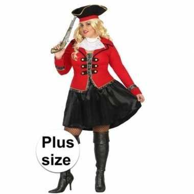 Originele grote maat kapitein piraat grace verkleed carnavalskleding/