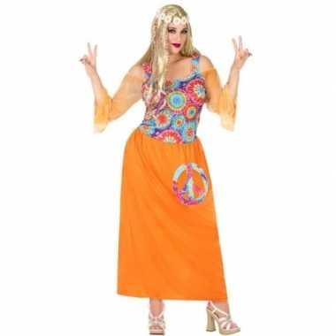 Originele grote maat oranje hippie/flower power verkleed carnavalskle