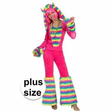 Originele grote maat roze regenboog monster verkleed carnavalskleding