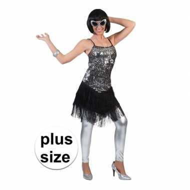 Originele grote maat zilver/zwart charleston verkleed carnavalskledin