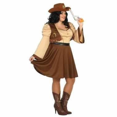 Originele grote maten cowgirl/western verkleed carnavalskleding dames