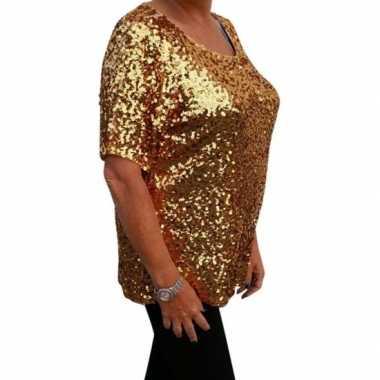 Originele grote maten gouden glitter pailletten disco shirt dames xl