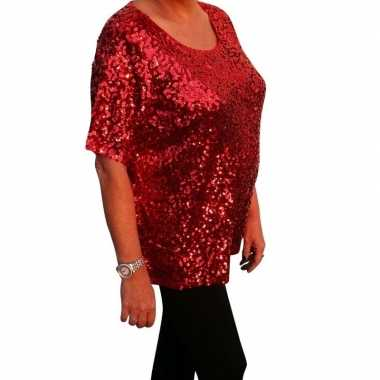 Originele grote maten rode glitter pailletten disco shirt dames xl ca