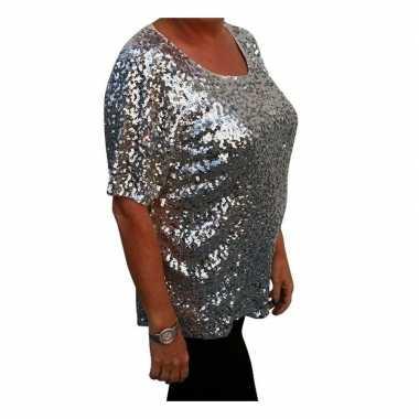 Originele grote maten zilveren glitter pailletten disco shirt dames x