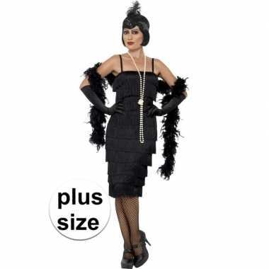 Originele grote maten zwarte jaren flapper carnavalskleding lang dame