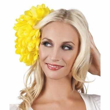 Originele haarbloem gele dahlia clip carnavalskleding