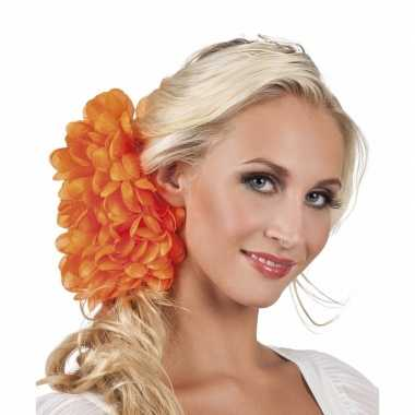 Originele haarbloem oranje dahlia clip carnavalskleding