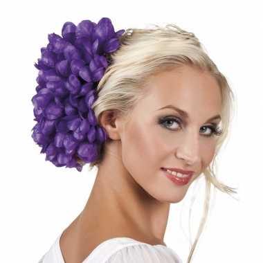 Originele haarbloem paarse dahlia clip carnavalskleding