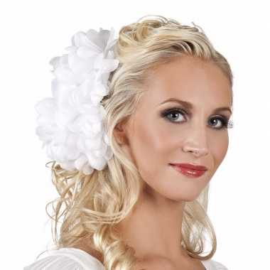 Originele haarbloem witte dahlia clip carnavalskleding