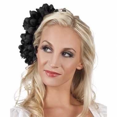 Originele haarbloem zwarte dahlia clip carnavalskleding