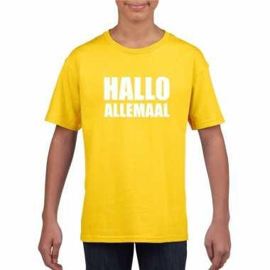 Originele hallo allemaal tekst geel t shirt kinderen carnavalskleding