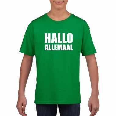 Originele hallo allemaal tekst groen t shirt kinderen carnavalskledin