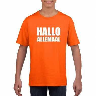 Originele hallo allemaal tekst oranje t shirt kinderen carnavalskledi