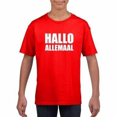 Originele hallo allemaal tekst rood t shirt kinderen carnavalskleding