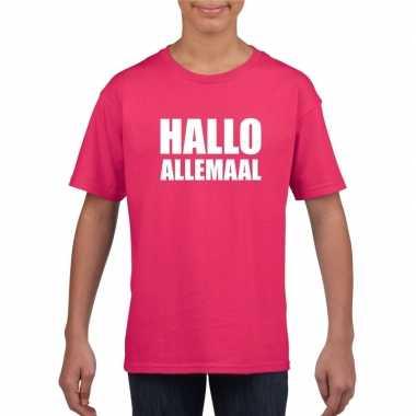 Originele hallo allemaal tekst roze t shirt kinderen carnavalskleding