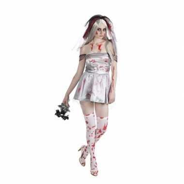 Originele halloween bloederige bruid dames carnavalskleding