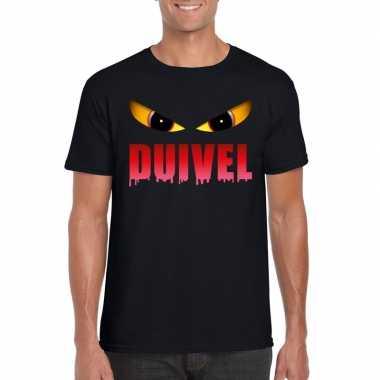 Originele halloween duivel ogen t shirt zwart heren carnavalskleding