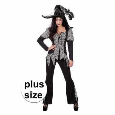 Originele halloween grote maat zwart/wit heksen carnavalskleding dame