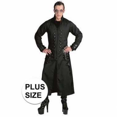Originele halloween grote maten zwarte gothic/vampier jas carnavalskl