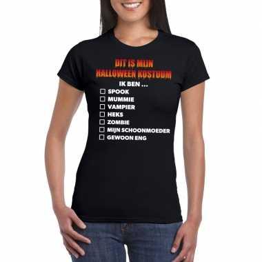 Originele halloween halloween carnavalskleding lijstje t shirt zwart