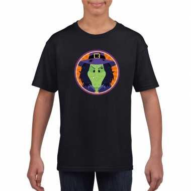 Originele halloween heks t shirt zwart kinderen carnavalskleding