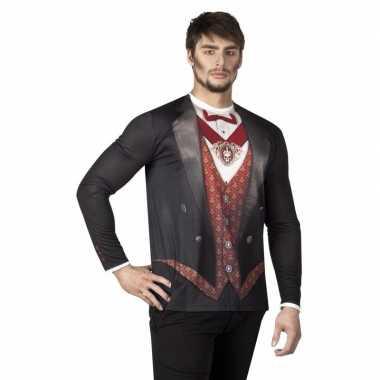 Originele halloween heren shirt vampier opdruk carnavalskleding