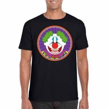 Originele halloween horror clown t shirt zwart heren carnavalskleding