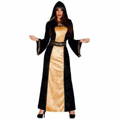 Originele halloween horror duistere vrouw carnavalskleding zwart goud
