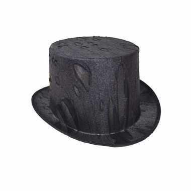 Originele halloween horror zwarte hoge hoed volwassenen carnavalskled