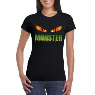 Originele halloween monster ogen t shirt zwart dames carnavalskleding