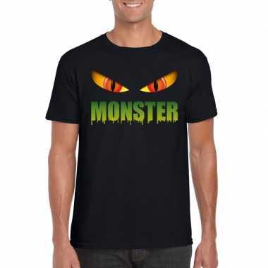 Originele halloween monster ogen t shirt zwart heren carnavalskleding