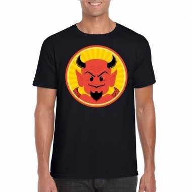 Originele halloween rode duivel t shirt zwart heren carnavalskleding