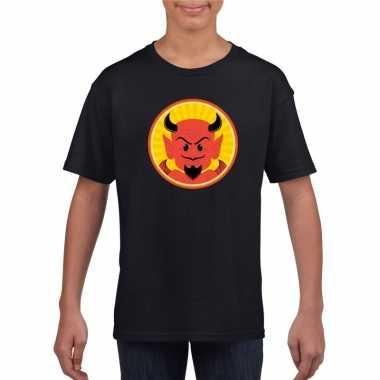 Originele halloween rode duivel t shirt zwart kinderen carnavalskledi