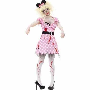 Originele halloween roze zombie minnie carnavalskleding dames