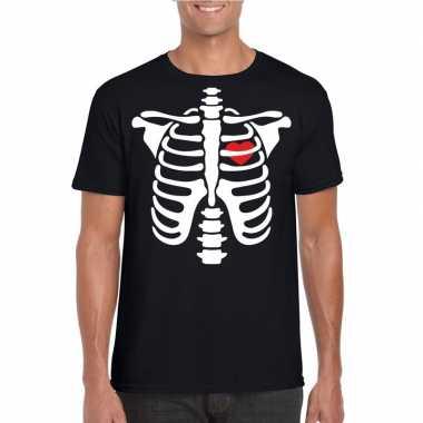 Originele halloween skelet t shirt zwart heren carnavalskleding