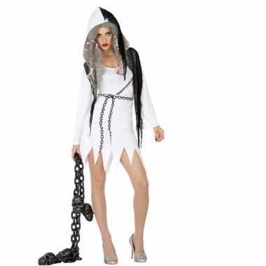 Originele halloween spook dames carnavalskleding wit zwart