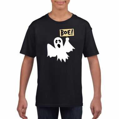 Originele halloween spook t shirt zwart kinderen carnavalskleding