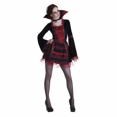 Originele halloween vampier damescarnavalskleding opstaande kraag