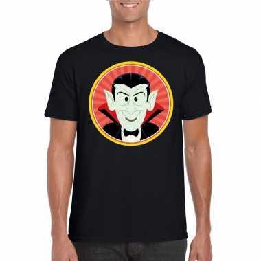 Originele halloween vampier/dracula t shirt zwart heren carnavalskled