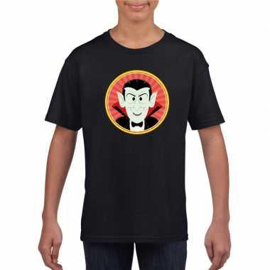 Originele halloween vampier/dracula t shirt zwart kinderen carnavalsk