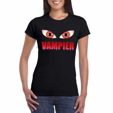 Originele halloween vampier ogen t shirt zwart dames carnavalskleding