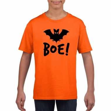 Originele halloween vleermuis t shirt oranje kinderen carnavalskledin