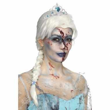 Originele halloween zombie froze to death damespruik carnavalskleding