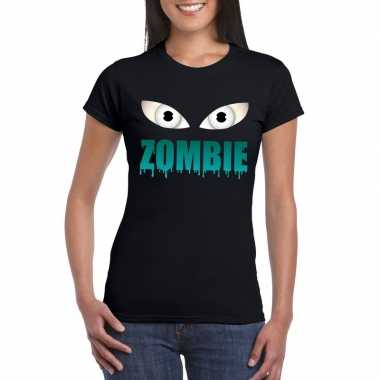 Originele halloween zombie ogen t shirt zwart dames carnavalskleding