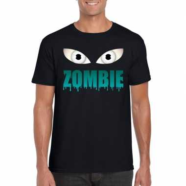 Originele halloween zombie ogen t shirt zwart heren carnavalskleding