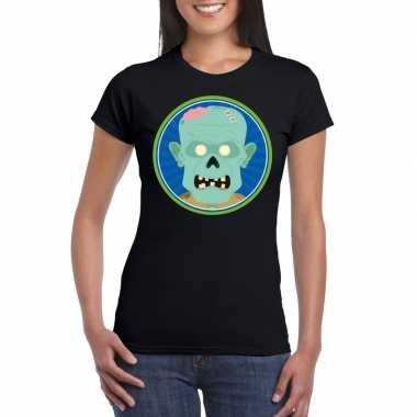 Originele halloween zombie t shirt zwart dames carnavalskleding