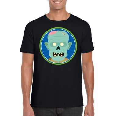 Originele halloween zombie t shirt zwart heren carnavalskleding
