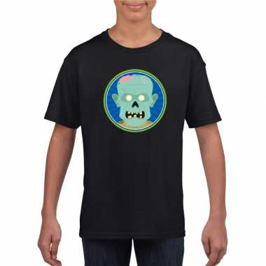 Originele halloween zombie t shirt zwart kinderen carnavalskleding