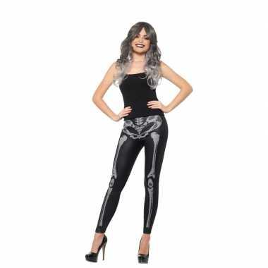Originele halloween zwarte legging skelet opdruk dames carnavalskledi