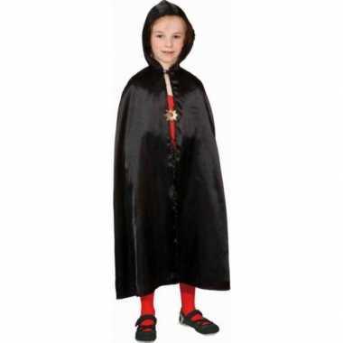 Originele halloween zwarte satijnen cape kinderen carnavalskleding